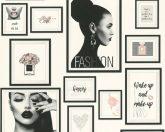 As-Creation Metropolitan Stories 36918-1 Paris Fashion fotó kollázs fehér fekete szürke rózsaszín enyhe fémes hatás tapéta