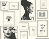 As-Creation Metropolitan Stories 36918-2  Paris Fashion fotó kollázs fehér fekete szürke ezüst arany enyhe fémes hatás tapéta