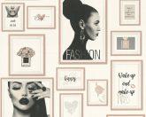 As-Creation Metropolitan Stories 36918-3  Paris Fashion fotó kollázs fehér fekete szürke rózsaszín/roségold enyhe fémes hatás tapéta
