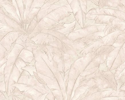 As-Creation Metropolitan Stories 36927-2  trópusi levélmintázat krém bézs fémes hatás tapéta