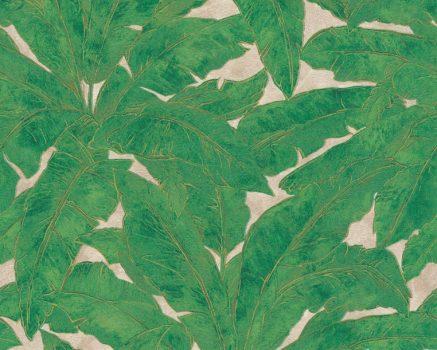 As-Creation Metropolitan Stories 36927-3  trópusi levélmintázat bézs zöld arany fémes hatás tapéta