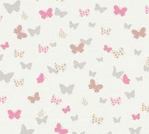 As-Creation Attractive 36933-2 Natur szines pillangók törtfehér ezüst pink szines fénylő mintarészletek tapéta