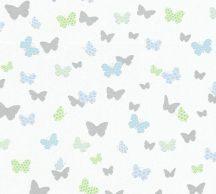 As-Creation Attractive 36933-3 Natur szines pillangók fehér ezüst zöld kék fénylő mintarészletek tapéta