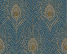 Architects Paper Absolutely Chic 36971-2  Natur pávatoll mintázat sötétkék sárga arany csillogó hatás tapéta
