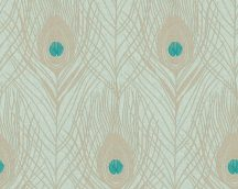 Architects Paper Absolutely Chic 36971-3  Natur pávatoll mintázat halvány menta bézsarany türkiz csillogó hatás tapéta