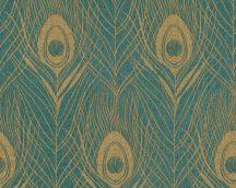 Architects Paper Absolutely Chic 36971-4  Natur pávatoll mintázat zöld arany csillogó hatás tapéta