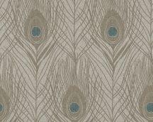 Architects Paper Absolutely Chic 36971-6  Natur pávatoll mintázat szürke szürkésbarna kék csillogó hatás tapéta