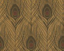 Architects Paper Absolutely Chic 36971-8  Natur pávatoll mintázat arany sötétbarna fekete csillogó hatás tapéta