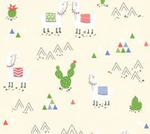 Boys & Girls 6, 36985-1 Gyerekszobai grafikus Lámák krém fehér zöld kék piros tapéta