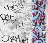 As-Creation Boys and Girls 6, 36986-1 Gyerekszobai graffiti szürke szines tapéta