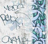 As-Creation  Boys and Girls 6, 36986-2 Gyerekszobai graffiti szürkésfehér kék zöld tapéta
