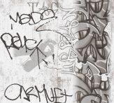 As-Creation  Boys and Girls 6, 36986-3 Gyerekszobai graffiti szürkésfehér szürke fekete tapéta