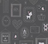 Gyerekszobai motívumok képkeretben sötétszürke rózsaszín ezüst csillogó részletek tapéta