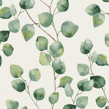 Greenery 37044-1 Natur levélmintázat karcsú ágakon akvarell levelek fehér zöld árnyalatok tapéta