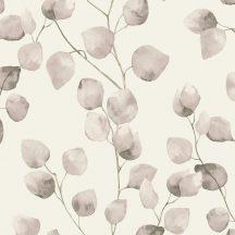 Natur levélmintázat karcsú ágakon akvarell levelek krémfehér bézs szürke tapéta