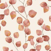 Natur levélmintázat karcsú ágakon akvarell levelek krémfehér narancs ó-rózsaszín tapéta