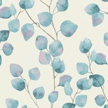 Natur levélmintázat karcsú ágakon akvarell levelek krémfehér kék halvány lila tapéta