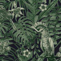 As-Creation Greenery 37210-1 Natur trópusi dzsungel életkép madarakkal fekete zöld tapéta
