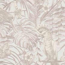 Greenery 37210-2  Natur trópusi dzsungel életkép madarakkal fehér krém bézs szürkésbézs tapéta