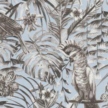 Greenery 37210-3 Natur trópusi dzsungel életkép madarakkal kék szürke fekete fehér tapéta