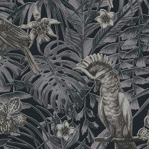 Greenery 37210-4  Natur trópusi dzsungel életkép madarakkal fekete szürke krém tapéta