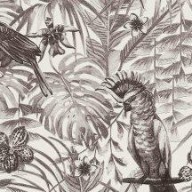 Greenery 37210-5  Natur trópusi dzsungel életkép madarakkal fehér szürke fekete tapéta