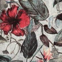 Greenery 37216-1 Natur dzsungel trópusi növények virágok szürke zöld barna piros fekete tapéta
