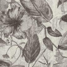 Natur dzsungel trópusi növények virágok szürkésfehér szürke fekete tapéta