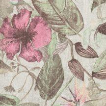 Natur dzsungel trópusi növények virágok szürkésfehér zöld barna rózsaszín tapéta