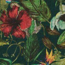 Natur dzsungel trópusi növények virágok sötétzöld zöld piros sárga szines tapéta