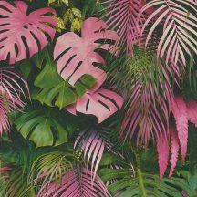 As-Creation Greenery 37280-1 Natur dzsungel trópusi levelek zöld rózsaszín tapéta