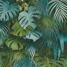 As-Creation Greenery 37280-3  Natur dzsungel trópusi levelek zöld és kék árnyalatok tapéta