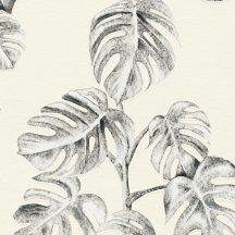As-Creation Greenery 37281-2 Natur botanikus levélminta fehér szürke antracit tapéta