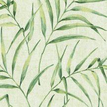 Natur botanikus filigrán páfránylevelek világoszöld zöld sárgászöld árnyalatok tapéta