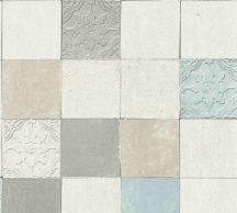 As-Creation New Walls 37406-1 FINCA HOME Natur csempetükör szürkésfehér bézs szürke türkiz tapéta