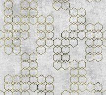 As-Creation New Walls 37424-4 URBAN GRACE Geometrikus grafikus szürke árnyalatok arany fénylő mintarajzolat tapéta
