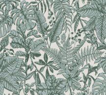 As-Creation Daniel Hechter 6, 37520-2 Natur botanikus dzsungel trópusi levelek szürkésfehér zöld árnyalatok tapéta