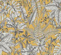As-Creation Daniel Hechter 6, 37520-3  Natur botanikus dzsungel trópusi levelek okkersárga szürke fehér tapéta