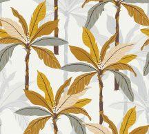 As-Creation Geo Nordic 37530-2 Natur trópusi pálmaliget fehér sárga narancs barna szürke tapéta