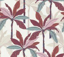 As-Creation Geo Nordic 37530-4 Natur trópusi pálmaliget krémfehér bézs terra bordópiros rózsaszín zöld tapéta