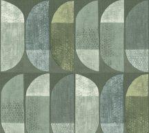 As-Creation Geo Nordic 37531-2 Geometrikus grafikus felezett ovális síkidomok zöld árnyalatok sárgászöld szürkészöld kék fehér tapéta
