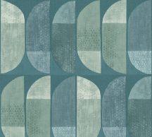 As-Creation Geo Nordic 37531-3 Geometrikus grafikus felezett ovális síkidomok kék és zöld árnyalatok szürke fehér tapéta