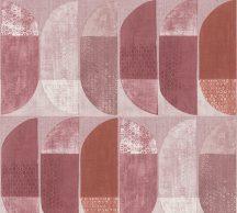 As-Creation Geo Nordic 37531-6 Geometrikus grafikus felezett ovális síkidomok rózsaszín piros és bordó árnyalatok krém tapéta