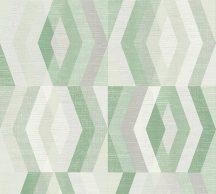 As-Creation Geo Nordic 37533-5 Geometrikus grafikus rombuszok négyzetbe rendezve krémszürke fehér szürke zöld tapéta