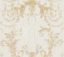 As-Creation History of Art 37648-2 Természetes hangulatú barokk díszítőminta törtfehér aranysárga/arany tapéta