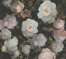 As-Creation History of Art 37650-5  Virágvarázs virágos díszítőminta fekete pink korall zöld szürke barna fehér tapéta