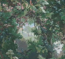 As-Creation History of Art 37652-1 Natur természeti kép egyedi erdő ábrázolás zöld árnyalatok kék rózsaszín korall szines tapéta