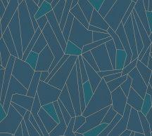 As-Creation New Life 37677-2  Geometrikus grafikus design kék petrol arany fémes csillogó hatás tapéta