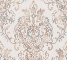 As-Creation New Life 37681-1 Klasszikus barokk díszítőminta krém/bézs ezüstszürke roségold fémesen fénylő mintafelület tapéta
