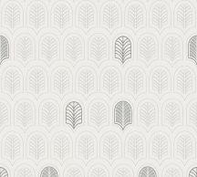 As-Creation New Life 37683-1 Grafikus Art-Deco minta fehér szürke ezüstszürke sötétszürke fémes csillogó hatás tapéta